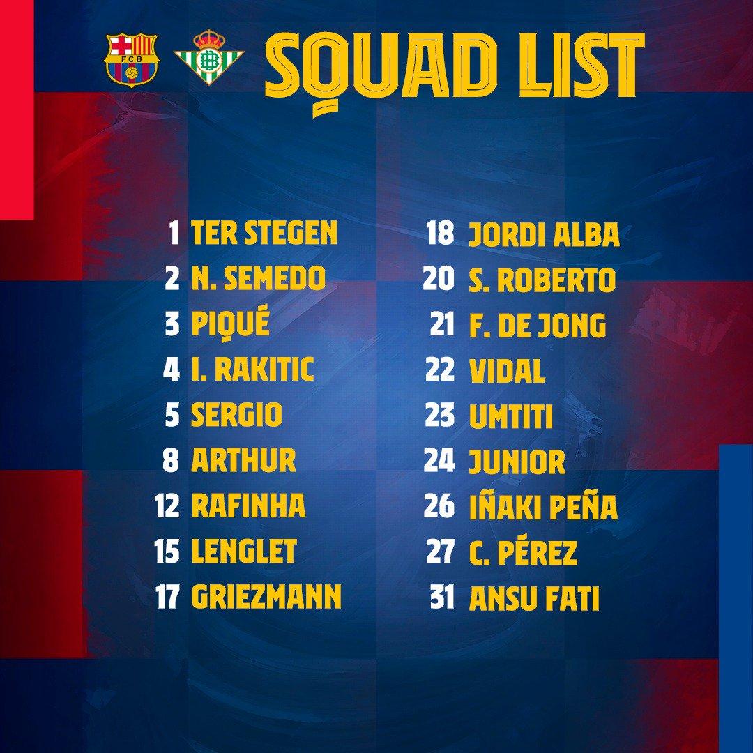 巴萨大名单:梅西最后时刻落选,一线队前锋只有格列兹曼