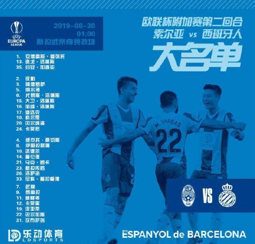 西班牙人欧联附加赛次回合大名单:武磊、罗卡在列