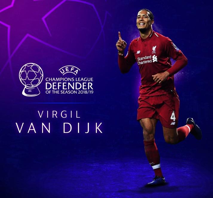 官方:范戴克当选上赛季欧冠最佳后卫