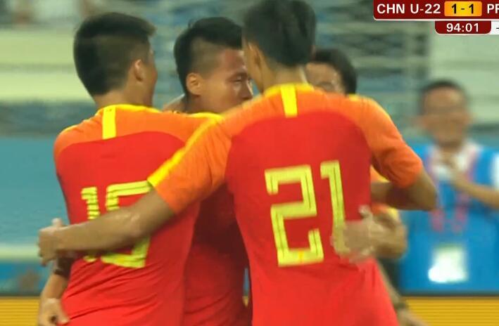 GIF:终场绝平,林良铭破门,国奥1-1朝鲜