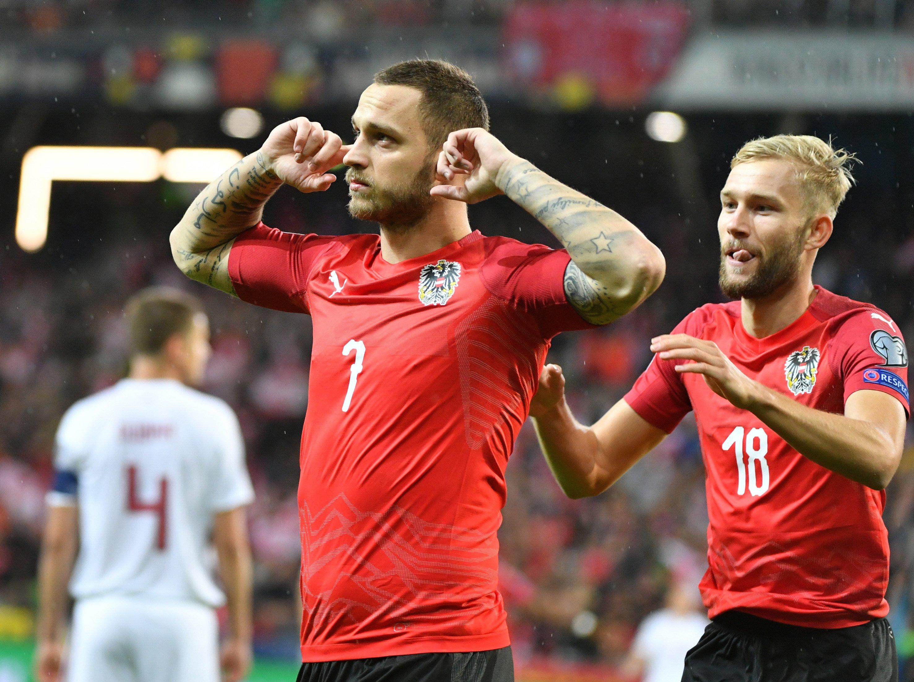 阿瑙托维奇双响,奥地利6-0拉脱维亚升至小组第二