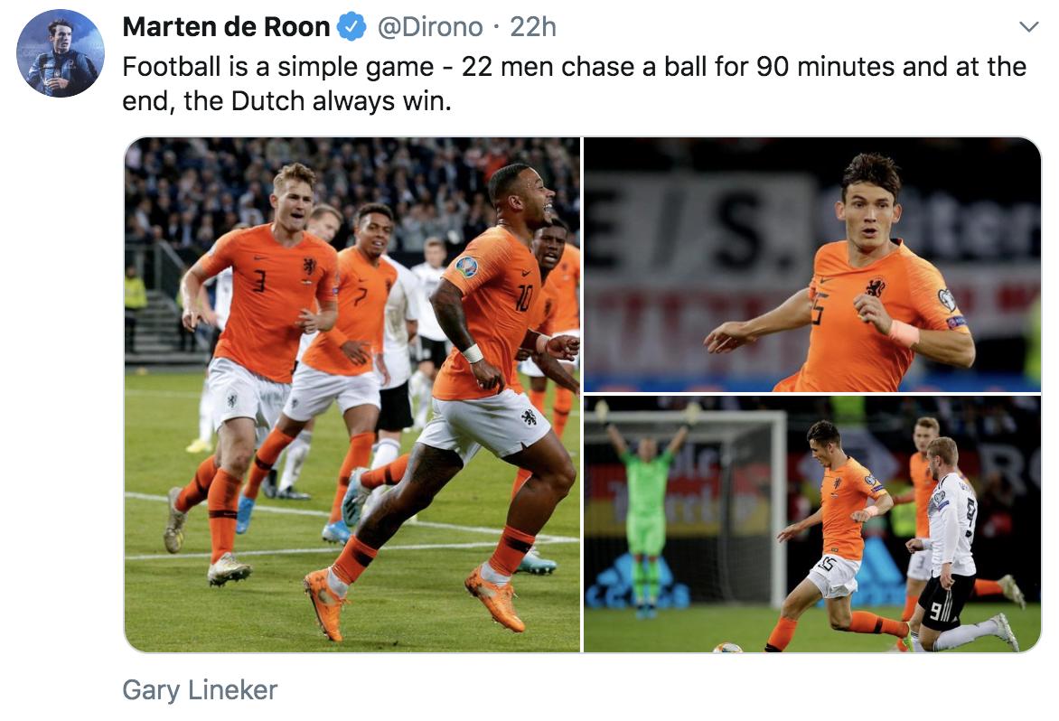 荷国脚爆笑模仿秀:足球是90分钟、最后荷兰人赢的游戏