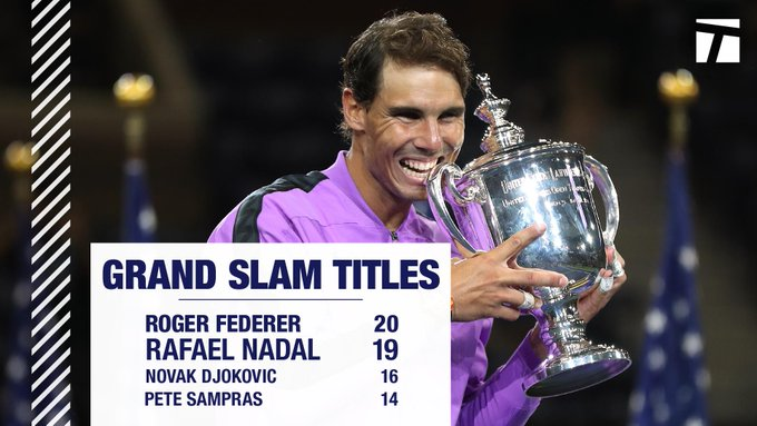 大添索尔祝贺纳达尔美网夺冠,夺得第19个大满贯冠军