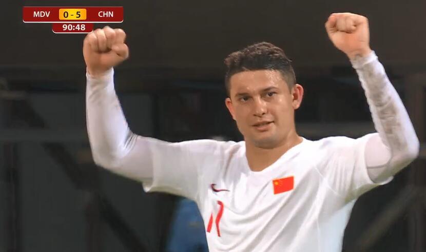GIF:艾克森梅开二度!国足5-0马尔代夫