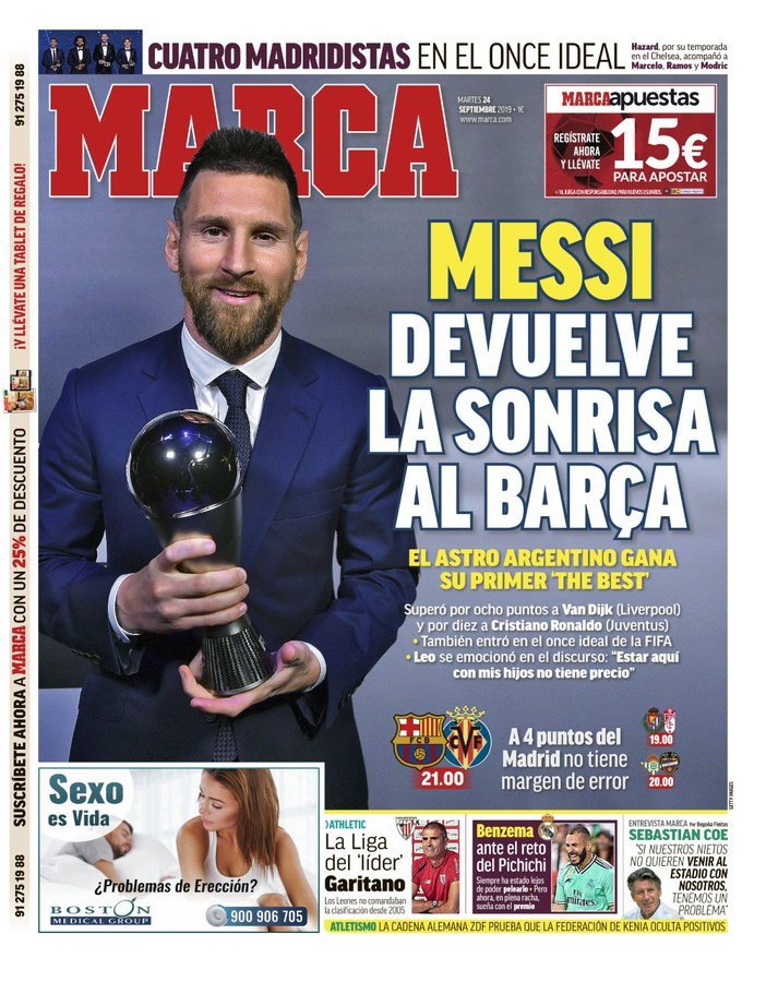 西媒聚焦梅西获FIFA最佳球员:梅西把微乐带回了巴萨