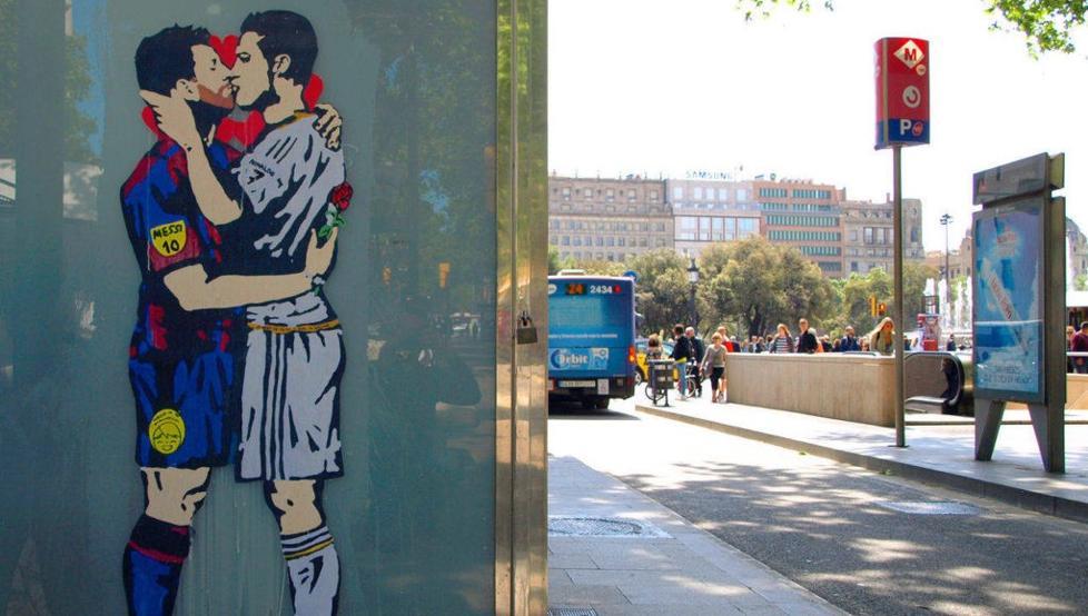巴塞罗那街头梅罗拥吻涂鸦将被拍卖,首拍价150欧