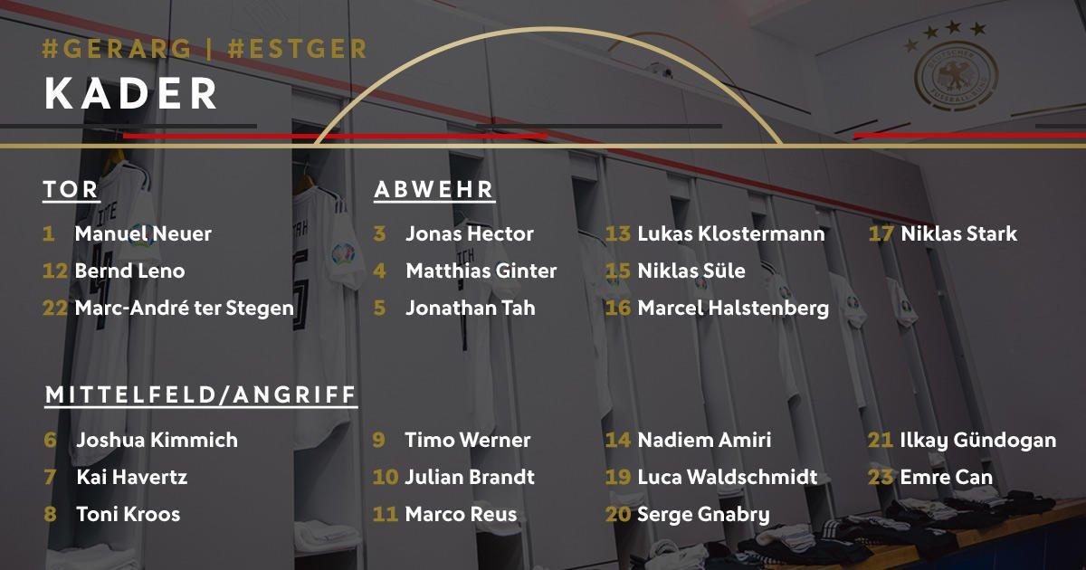 德国大名单:诺伊尔、克罗斯领衔,塔、詹入选