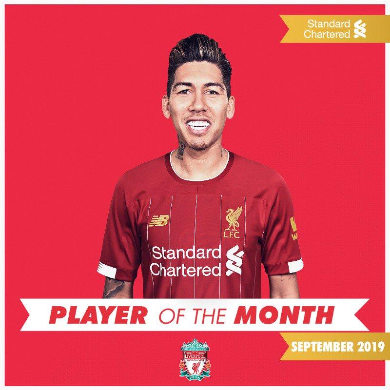 利物浦官方:菲尔米诺当选俱乐部9月最佳球员