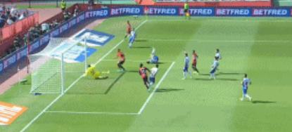 GIF:布季米尔撞射破门,西班牙人客场一球落后