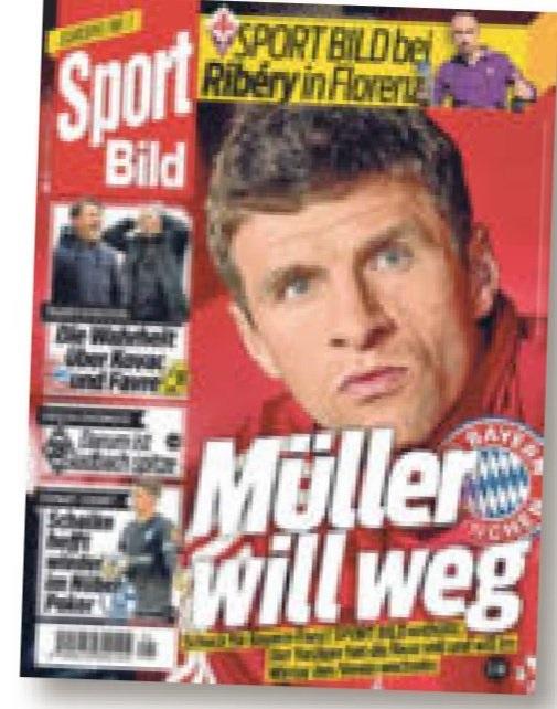 体育图片报头版:穆勒希望离开拜仁慕尼黑