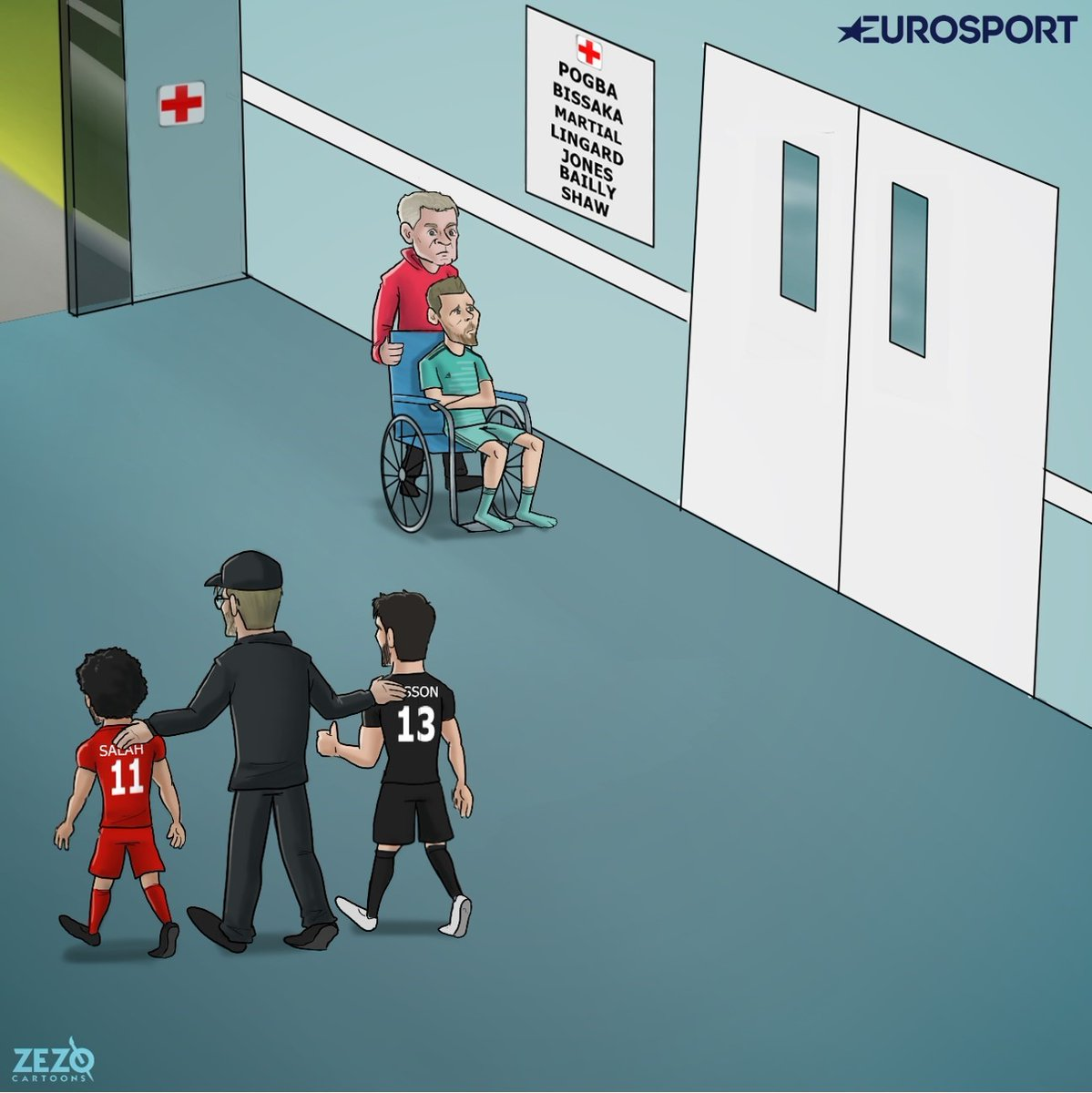 漫画调侃双红会:萨拉赫阿利松出院,德赫亚进病房