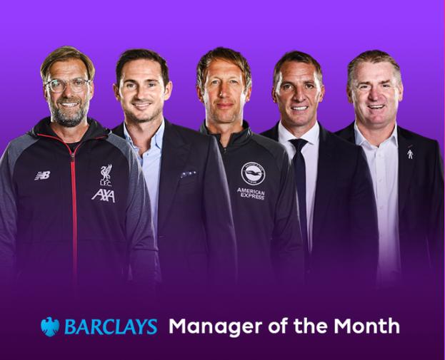 英超10月最佳教练候选:克洛普兰帕德领衔,罗杰斯入选