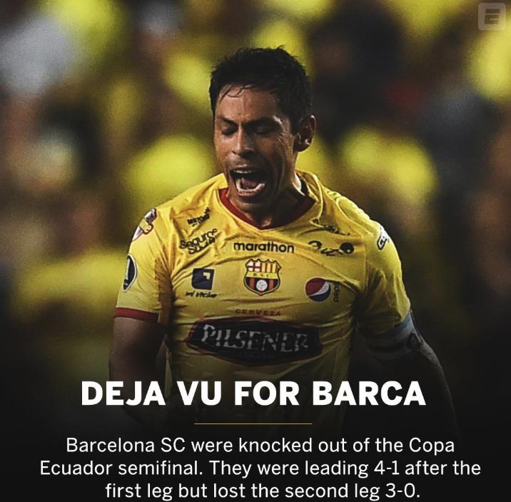 厄瓜多尔叫巴萨的球队首回合4-1,次回合0-3被淘汰