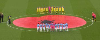 GIF:曼城对圣徒,双方球员赛前为一战阵亡将士默哀