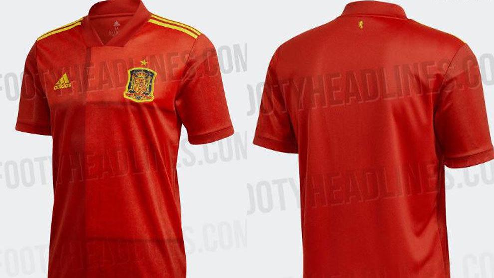 西班牙2020欧洲杯国家队队服流出,款式简约大方