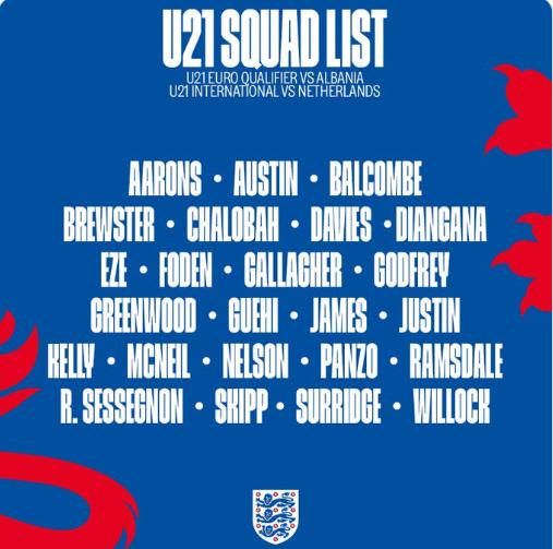 英格兰U21国家队大名单公布:格林伍德、塞塞尼翁入选