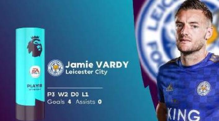 官方:瓦尔迪当选英超十月最佳球员