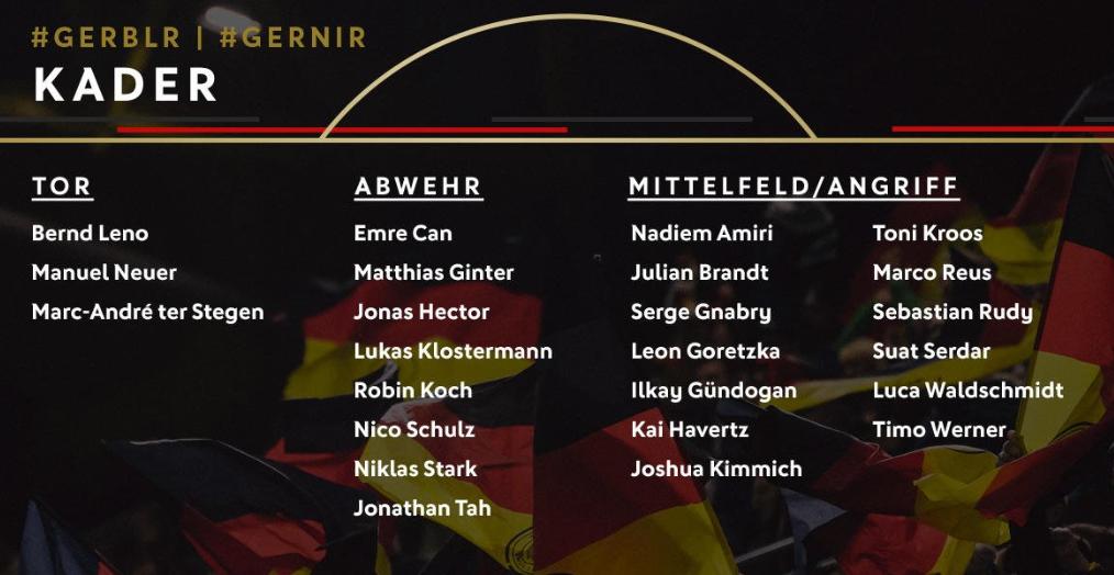 德国队大名单:诺伊尔领衔,维尔纳罗伊斯入选