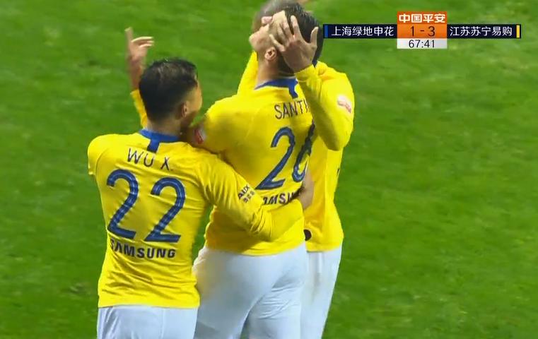 GIF:桑蒂尼头球破门完成梅开二度,苏宁客场3-1领先申花