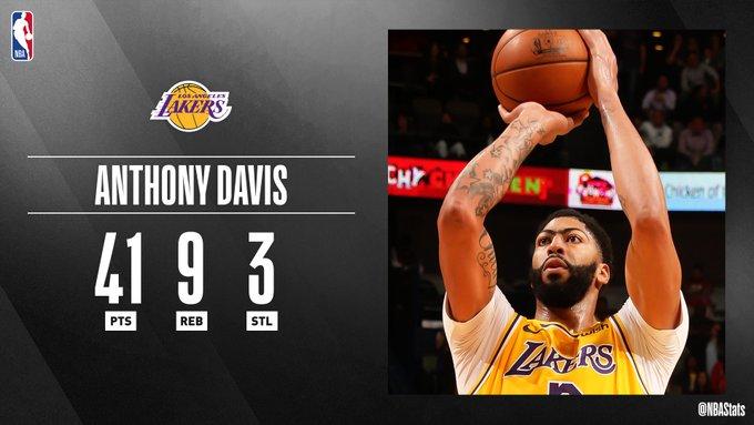 NBA官方评选最佳数据:戴维斯41分9板3断当选
