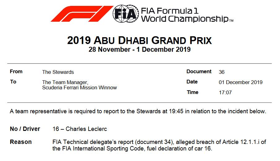 FIA赛事干事正式传唤法拉利车队代表