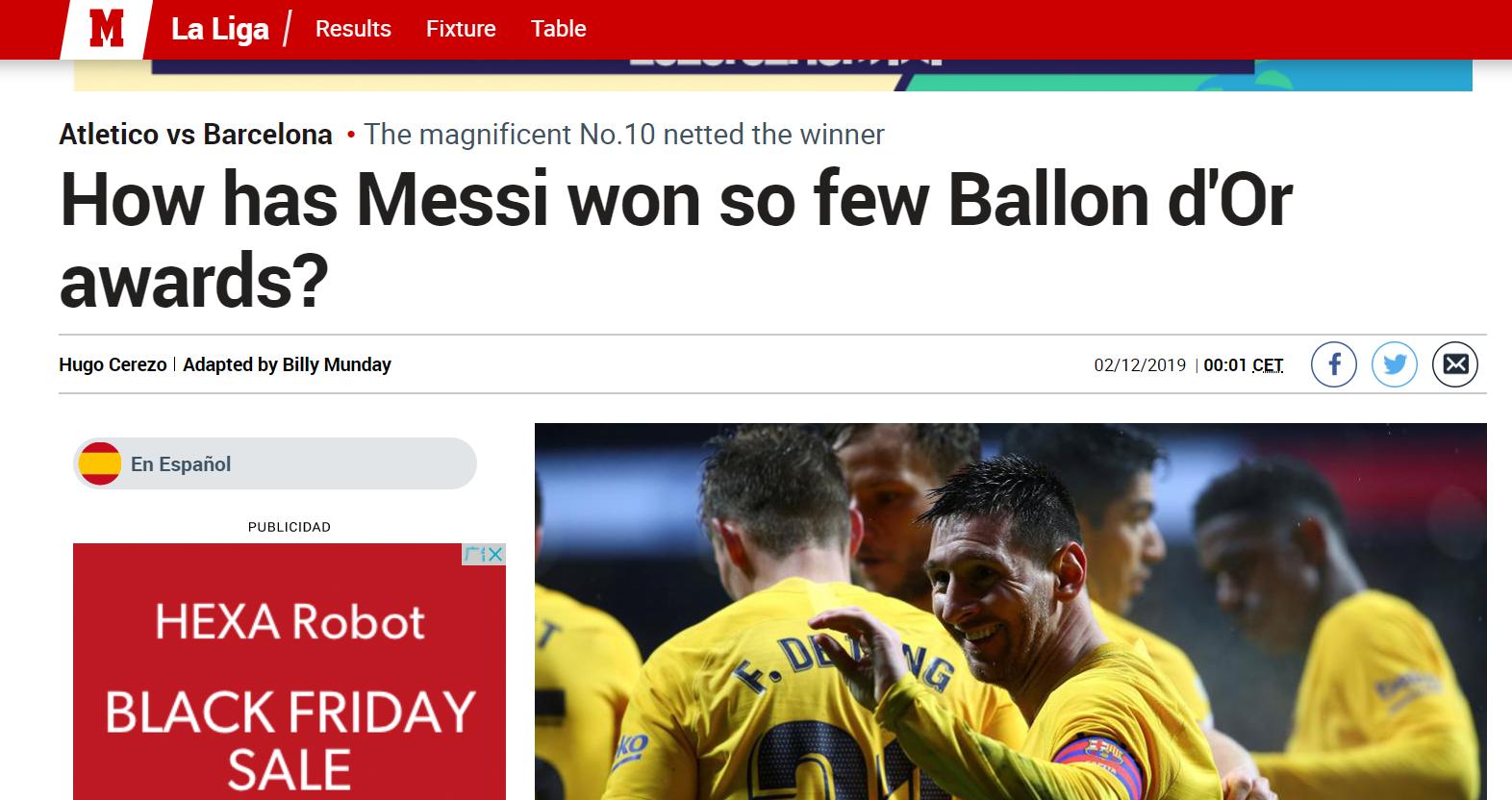 """马卡反向吹梅西:为何金球奖拿得这么""""少""""?"""