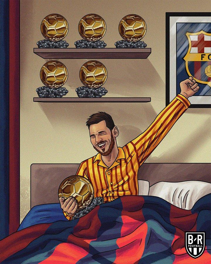 B/R创意海报:梅西一觉醒来,发现被窝里多了一座金球奖