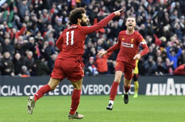 萨拉赫梅开二度马内进球被吹,利物浦2-0沃特福德