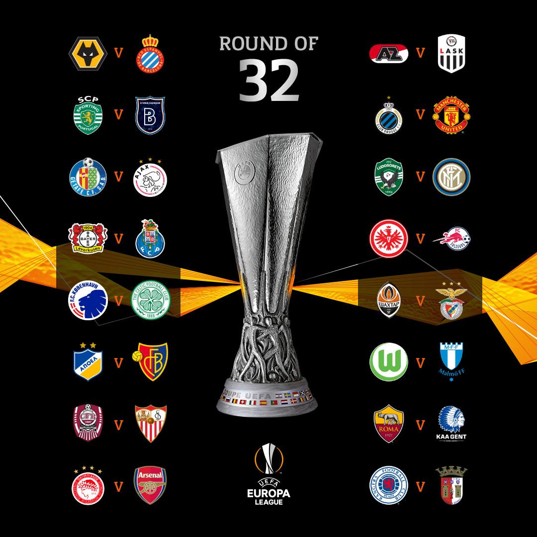 欧联杯1/16决赛抽签:狼队vs西班牙人,布鲁日vs曼联