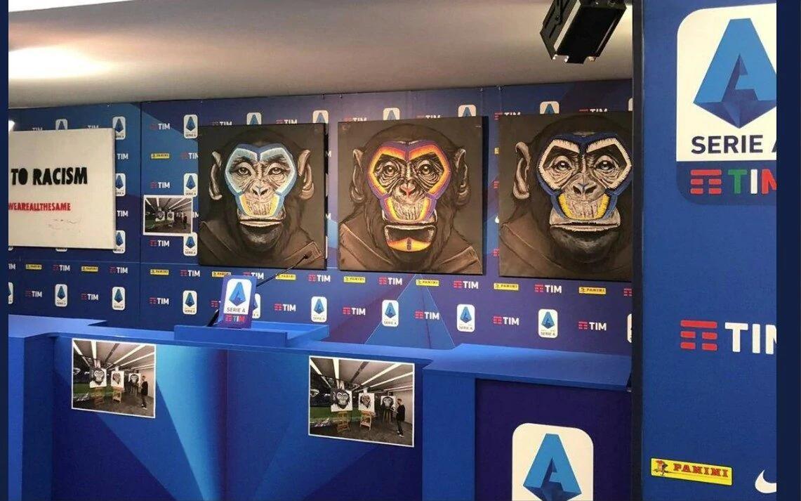 抵制种族歧视,意甲官方展示黑猩猩和猿猴为主题绘画遭批