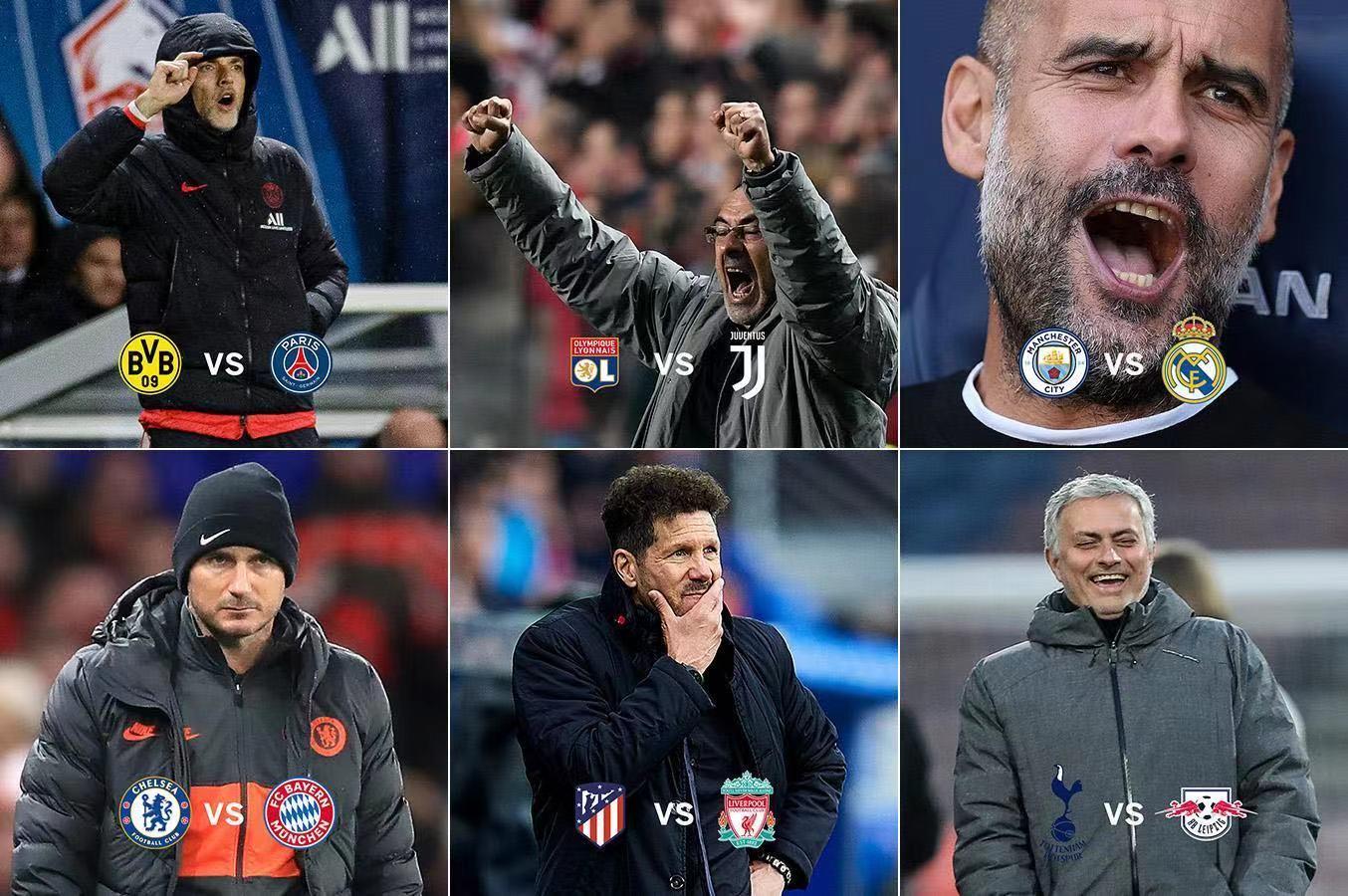 一图流:欧冠淘汰赛抽签揭晓后,各位教练的表情如图