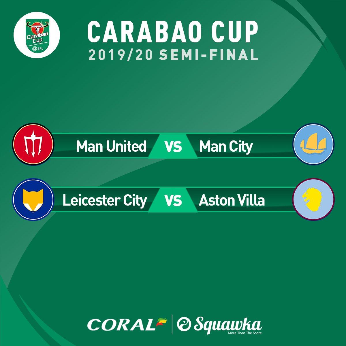 卡拉宝杯半决赛抽签:曼联曼城上演德比,莱斯特城vs维拉