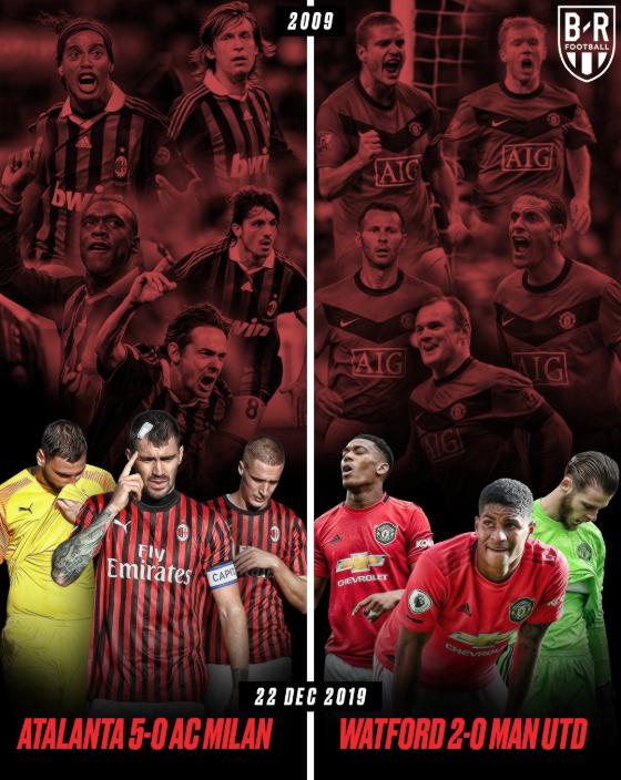 扎心了!B/R海报:米兰曼联的2009和2019