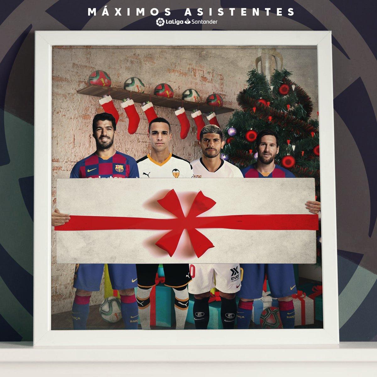 西甲官方:梅西等4位半程助攻王为您送来圣诞好礼
