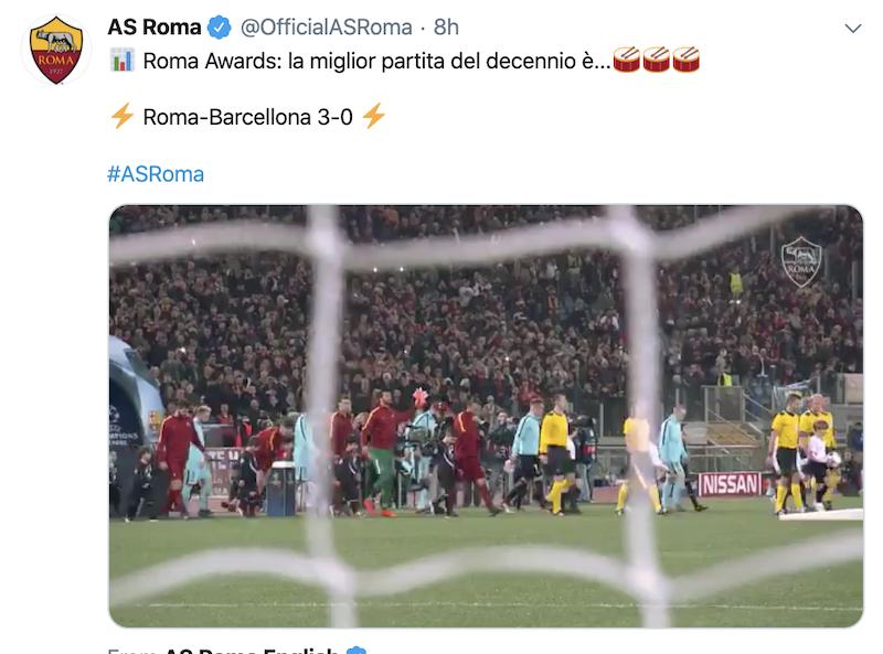 罗马官方评近10年最佳比赛:欧冠3-0胜巴萨逆转晋级当选