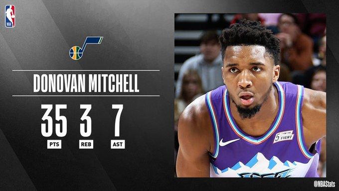 NBA民间评选最佳数据:米切尔35分3板7助攻被选