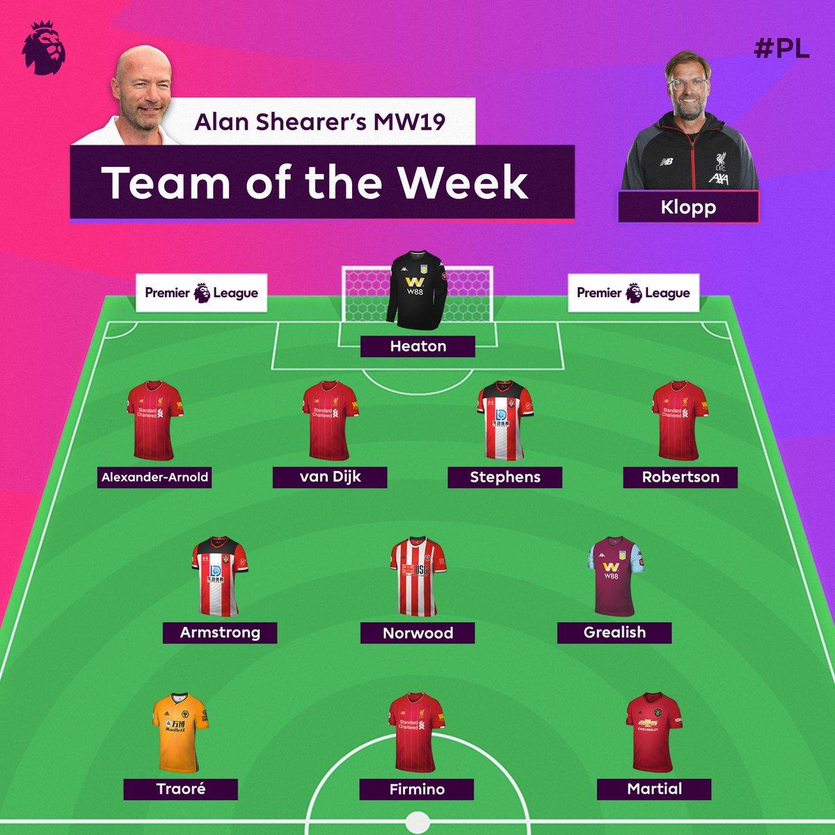 阿兰-希勒评英超本轮最佳阵容:利物浦4人入选