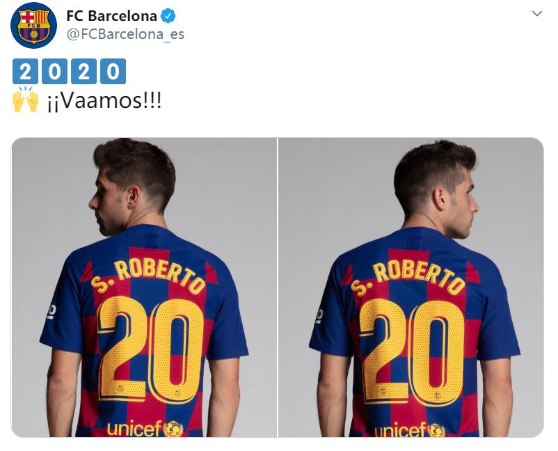 巴萨官推上传了两张罗贝托背号的照片:2020年加油吖!