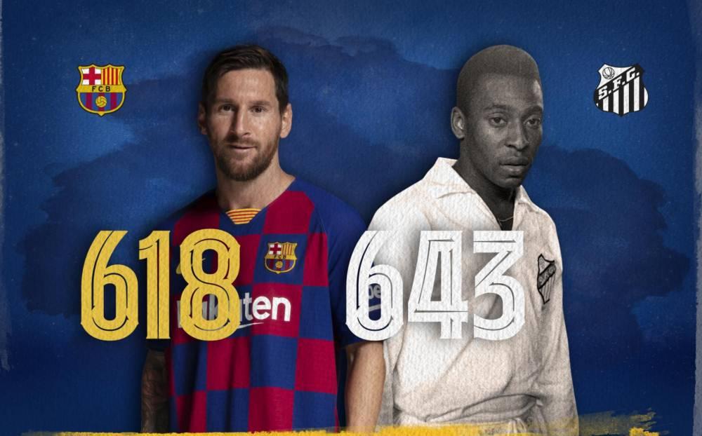 新年许愿!梅西再为巴萨进26球,就可超过贝利一项纪录