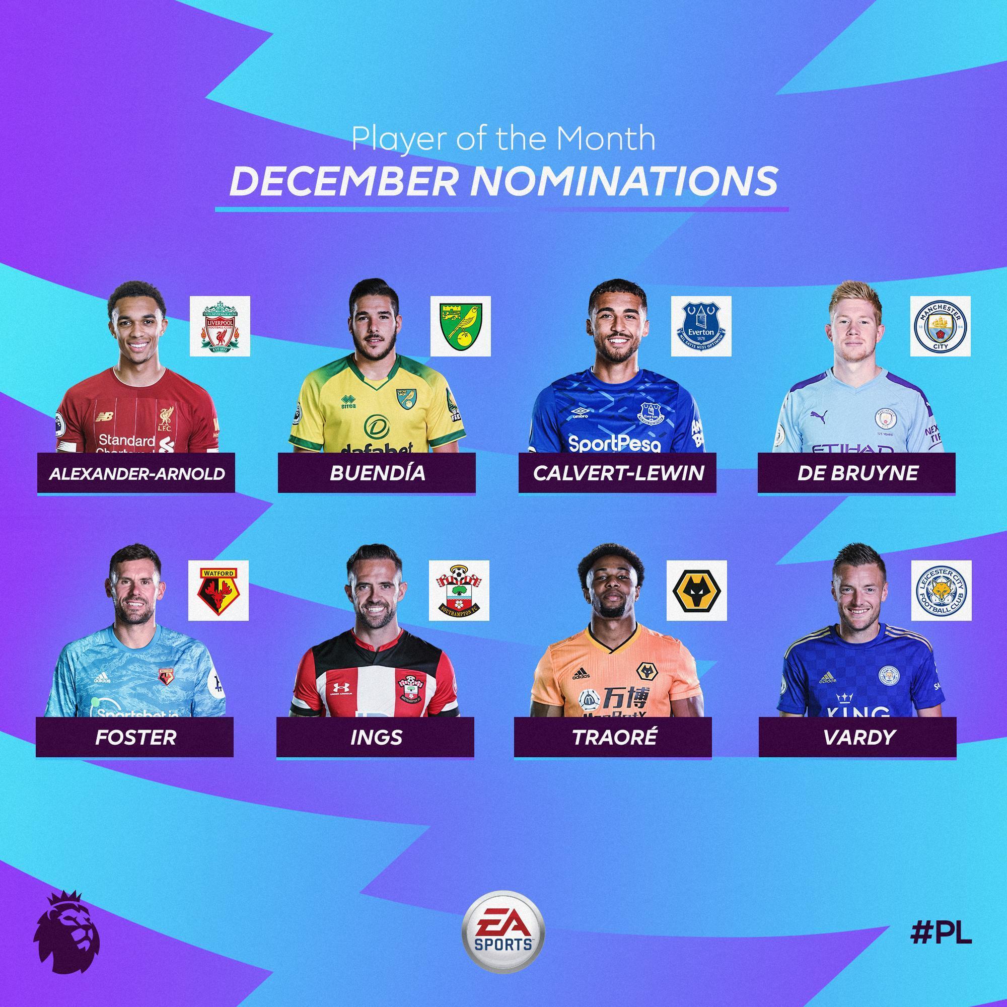 英超12月最佳候选:阿诺德、瓦尔迪、德布劳内领衔