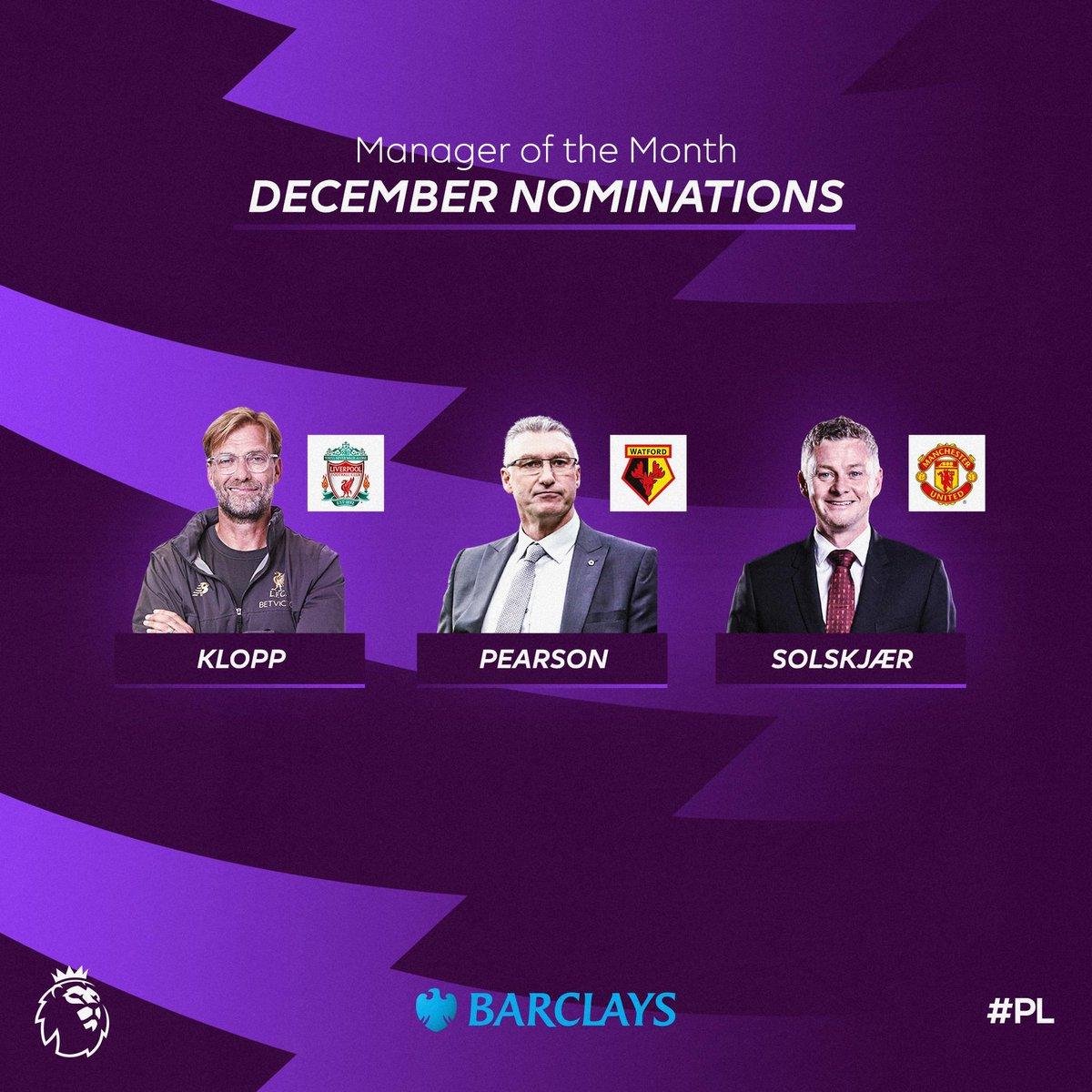英超12月最佳主帅候选:克洛普、索肖、皮尔森