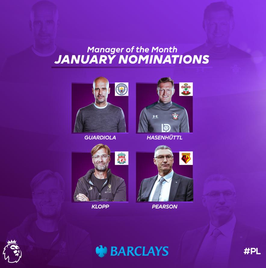 英超1月最佳教练候选:瓜帅渣叔、哈森许特尔皮尔斯入选