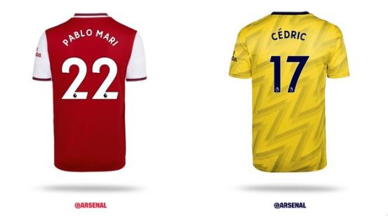 阿森纳公布新援球衣号码:马里22号,塞德里克17号