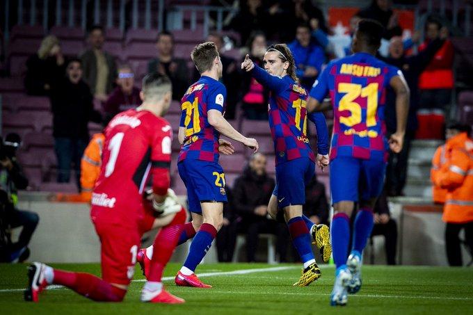 GIF:格列兹曼低射穿裆破门,巴塞罗那取得领先