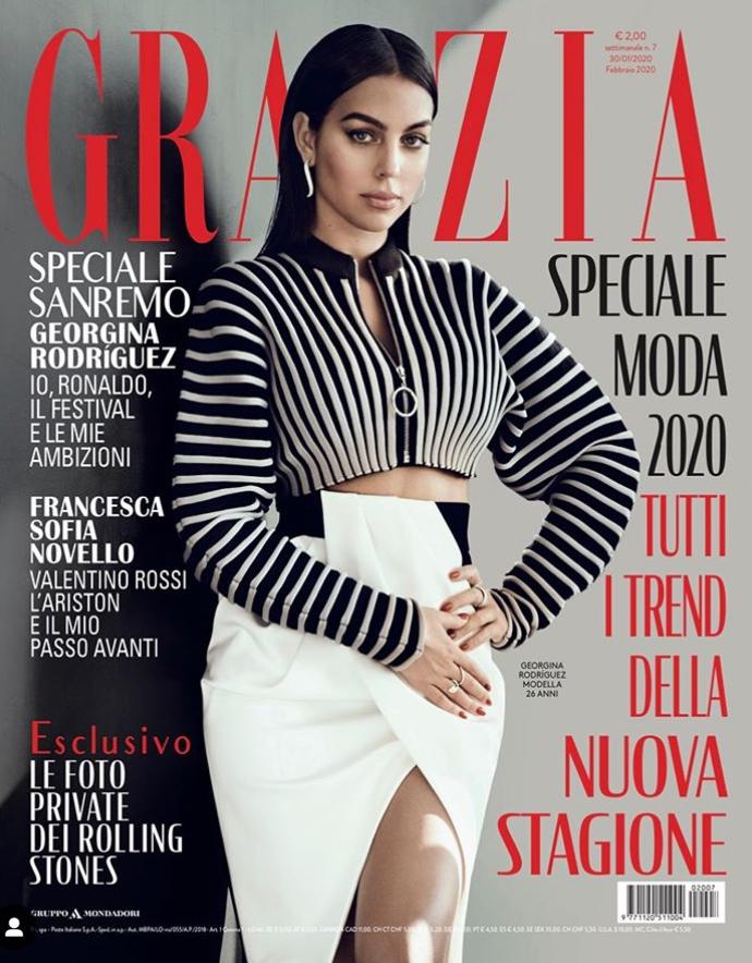 有范儿!C罗女友乔治娜登上意大利红秀杂志封面