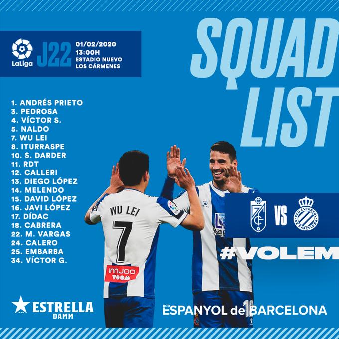 西班牙人联赛大名单:武磊在列,新援前锋恩巴尔巴入选