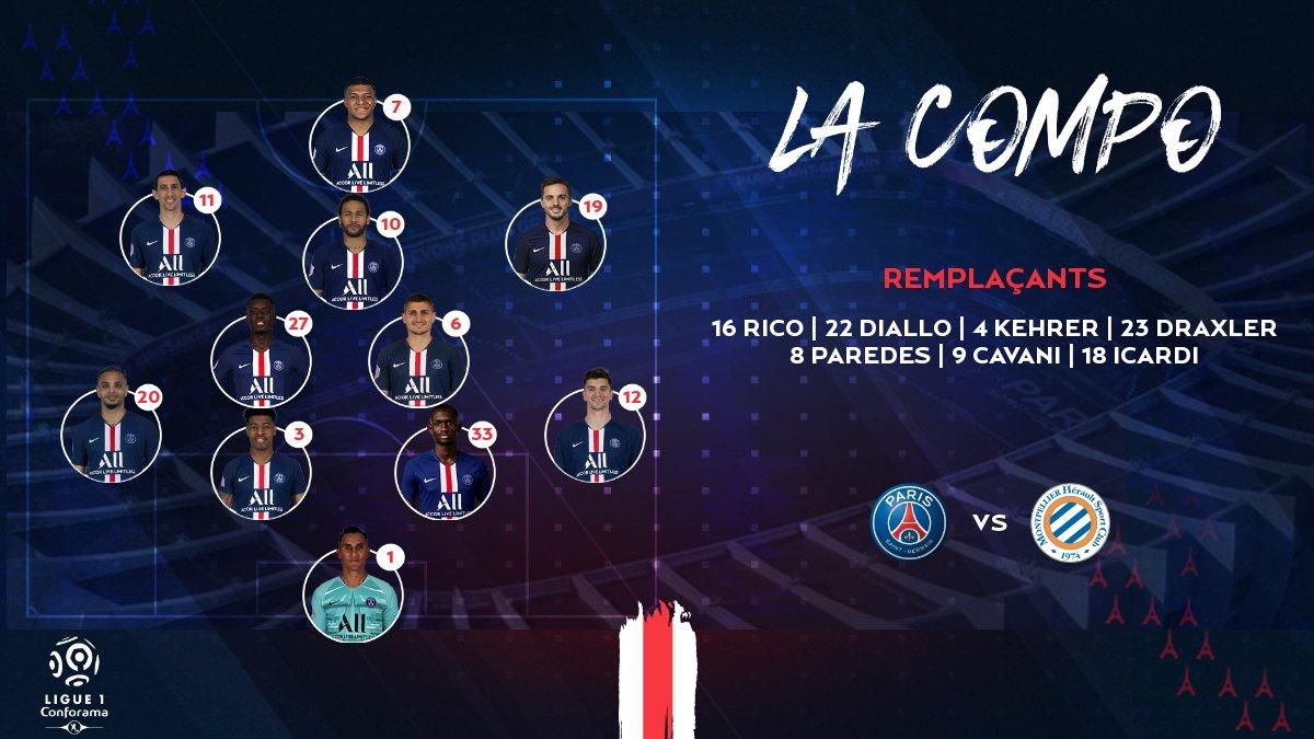 巴黎vs蒙彼利埃:姆巴佩单箭头突前,卡瓦尼伊卡尔迪替补