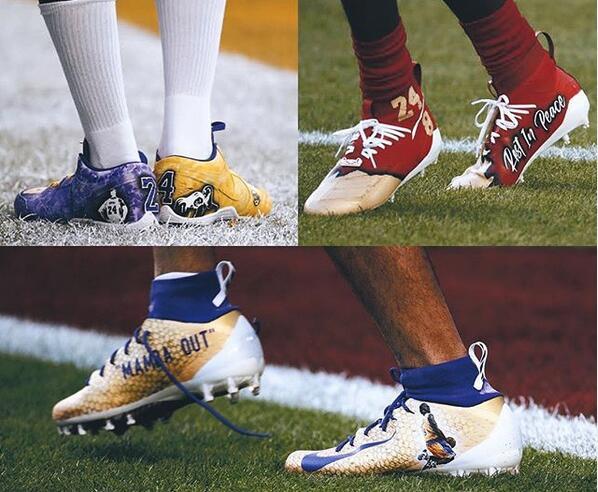 今日多名超级碗球员穿上缅怀科比的球鞋:曼巴安息
