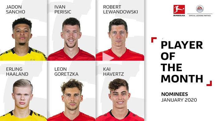 德甲一月最佳球员候选:莱万领衔,哈兰德和桑乔入选