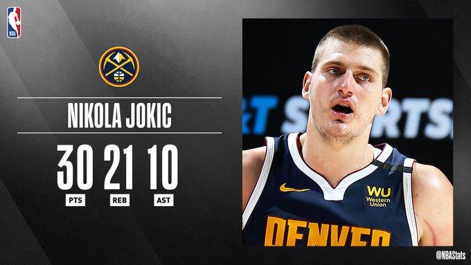 NBA官方评选最佳数据:约基奇30分21板10助攻当选